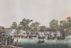 The Jubilee naval action on the Serpentine in commemoration of the Battle of the Nile